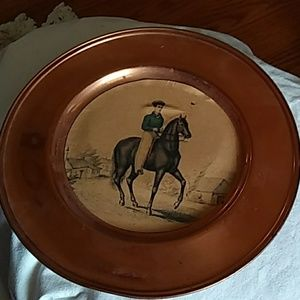 Antique copper horse picture vase plate unique